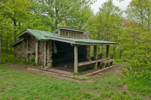 The drab and dumpy shelter at Siler's Bald